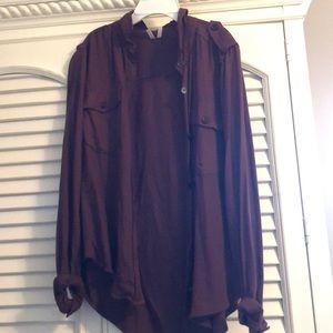 maroon button down shirt